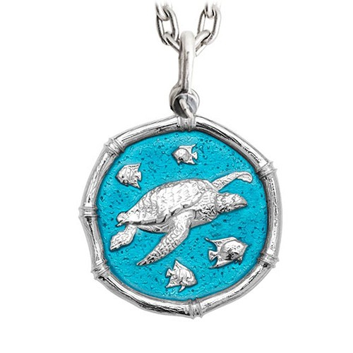 Guy Harvey Large Sea Turtle Cayman Green Enamel Sterling Silver Necklace - Stainless Steel Chain
