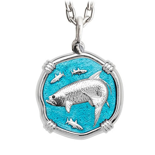 Guy Harvey Large Tarpon Cayman Green Enameled Sterling Silver Necklace - Stainless Steel Chain