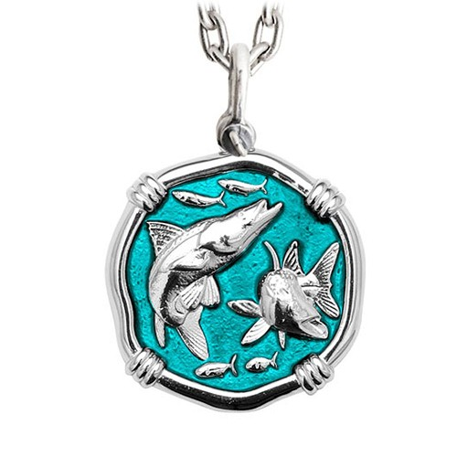 Guy Harvey Large Snook Cayman Green Enameled Sterling Silver Necklace - Stainless Steel Chain
