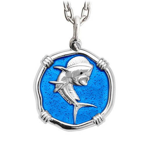 Guy Harvey Large Dolphin Caribbean Blue enameled Sterling Silver Necklace - Stainless Steel Chain