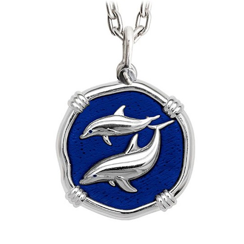 Guy Harvey Porpoise Large Gulf Stream Blue Enamel Sterling Silver Necklace - Stainless Steel Chain