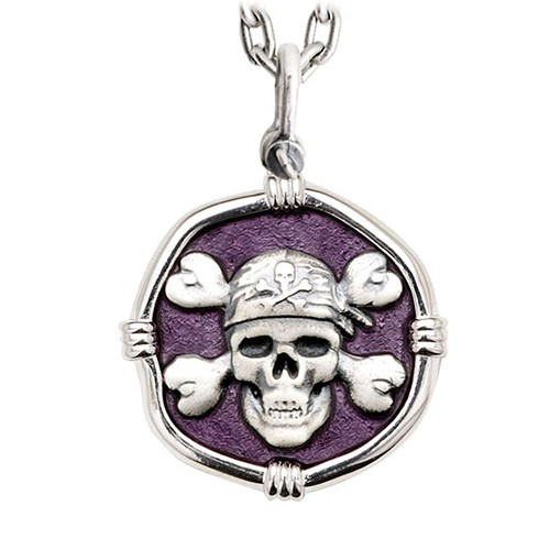Guy Harvey Large Purple Pirate Enameled Sterling Silver Necklace - Stainless Steel Heavy Link Chain