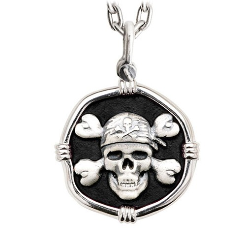 Guy Harvey Large Size Pirate Black Enameled Sterling Silver Necklace - Stainless Steel Chain