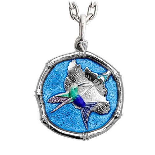 Guy Harvey Large Full Color Blue Enamel Sterling Silver Hummingbird Necklace- Stainless Steel Chain