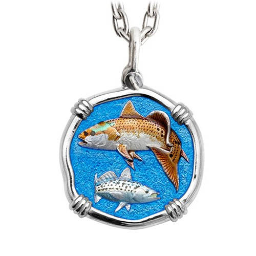 Guy Harvey Large Redfish & Trout Full Color Enamel Sterling Silver Necklace - Stainless Steel Chain