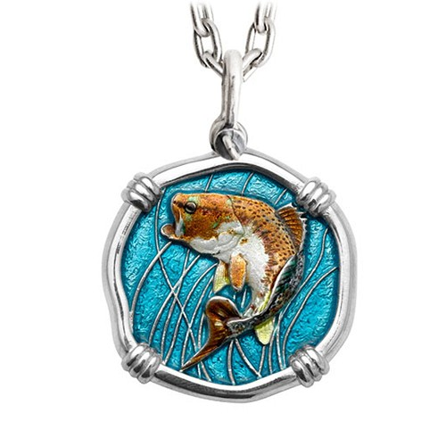 Guy Harvey Large Size Bass Full Color Enameled Sterling Silver Necklace - Stainless Steel Chain