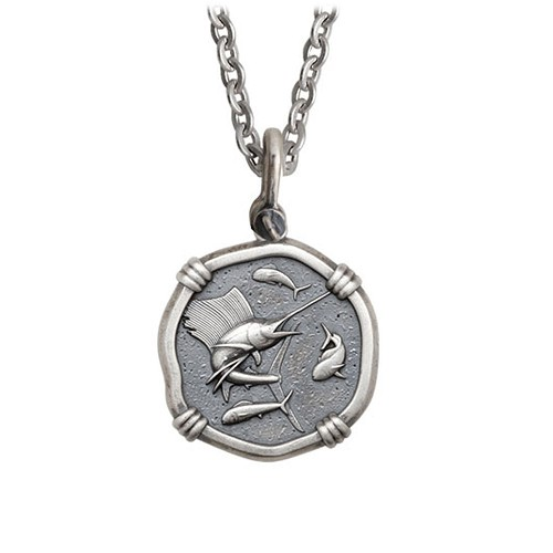Guy Harvey Medium size Sterling Silver Sailfish Necklace with Stainless Steel Link Chain