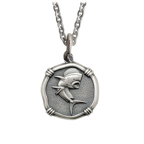 Guy Harvey Medium size Sterling Silver Dolphin Necklace with Stainless Steel Link Chain