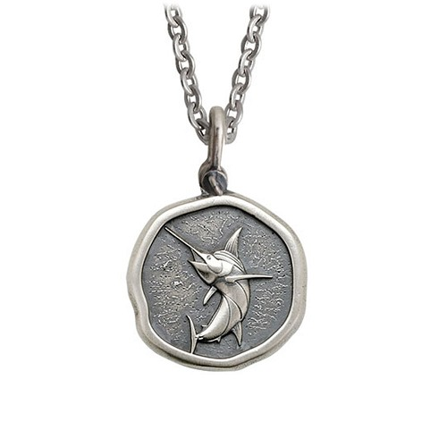 Guy Harvey Medium size Sterling Silver Marlin Necklace with Stainless Steel Link Chain