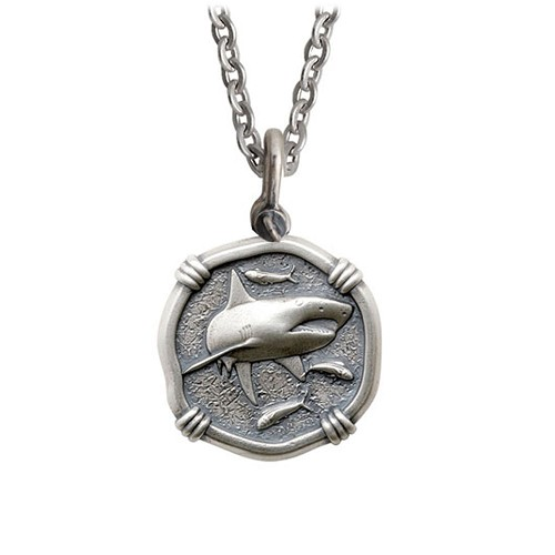Guy Harvey Medium size Sterling Silver Shark Necklace with Stainless Steel Link Chain
