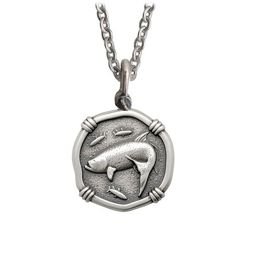 Guy Harvey Medium size Sterling Silver Tarpon Necklace with Stainless Steel Link Chain