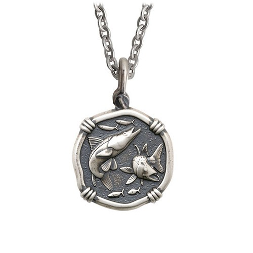 Guy Harvey Medium size Sterling Silver Snook Necklace with Stainless Steel Link Chain