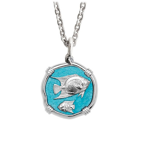 Guy Harvey Medium Cayman Green enameled Sterling Silver Angelfish Necklace - Stainless Steel Chain