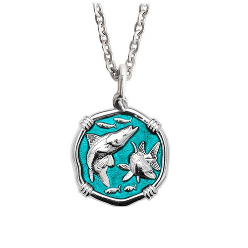 Guy Harvey Medium Cayman Green enameled Sterling Silver Snook Necklace - Stainless Steel Link Chain