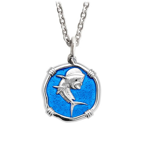 Guy Harvey Medium Caribbean Blue enameled Sterling Silver Dolphin Necklace - Stainless Steel Chain