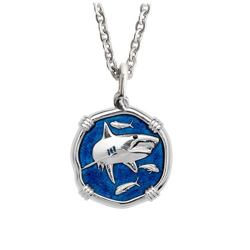 Guy Harvey Medium Gulf Stream Blue Enamel Sterling Silver Shark Necklace - Stainless Steel Chain