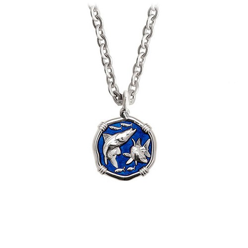 Guy Harvey Petite Gulf Stream Blue Enamel Sterling Silver Snook Necklace- Stainless Steel Chain