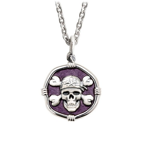 Guy Harvey Medium size Purple enameled Sterling Silver Pirate Necklace with Stainless Steel Chain