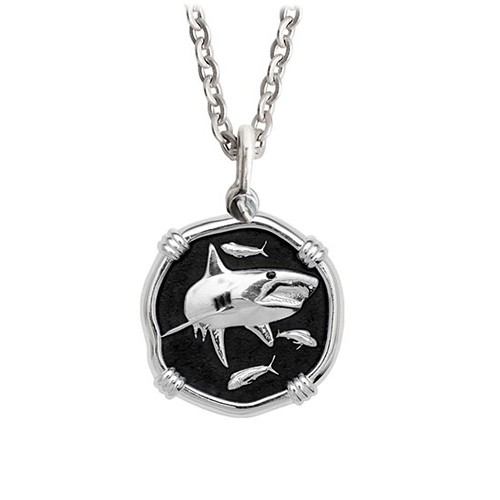 Guy Harvey Medium size Black enameled Sterling Silver Shark Necklace with Stainless Steel Link Chain