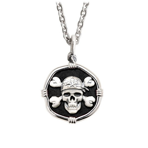 Guy Harvey Medium Black enameled Sterling Silver Pirate Necklace with Stainless Steel Link Chain