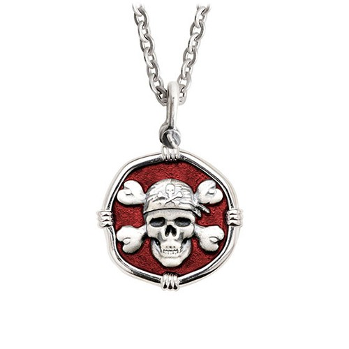 Guy Harvey Medium size Red enameled Sterling Silver Pirate Necklace with Stainless Steel Link Chain