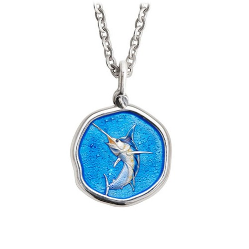 Guy Harvey Medium size Full Color enameled Sterling Silver Marlin Necklace - Stainless Steel Chain