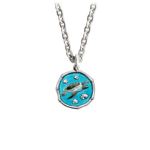 Guy Harvey Petite Full Color enameled Sterling Silver Sea Turtle Necklace - Stainless Steel Chain