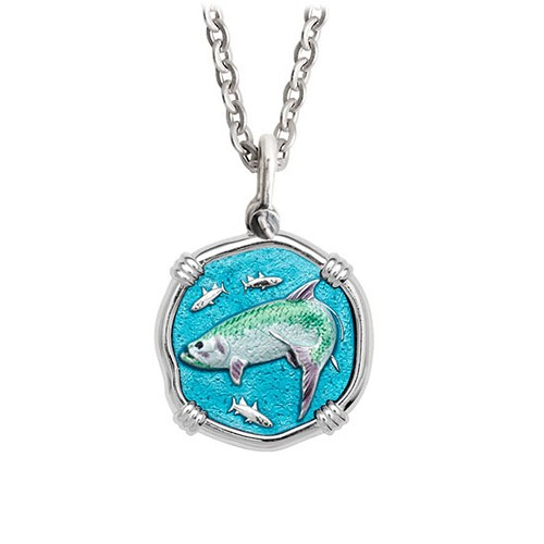 Guy Harvey Medium size Full Color enameled Sterling Silver Tarpon Necklace - Stainless Steel Chain