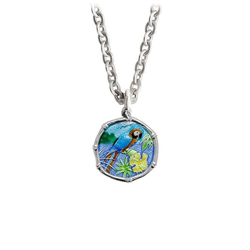 Guy Harvey Petite Full Color enameled Sterling Silver Macaw Necklace with Stainless Steel Chain