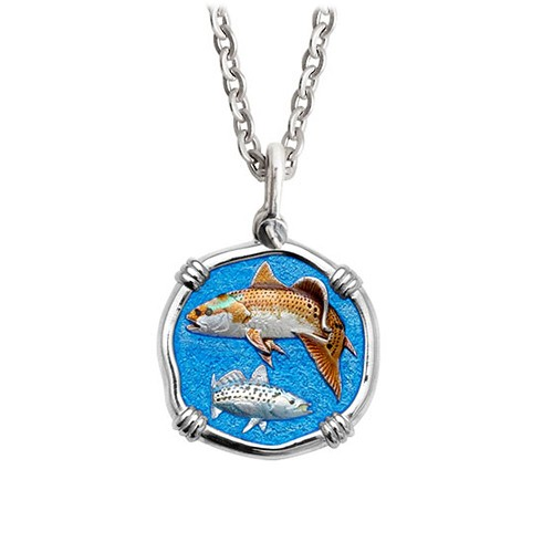 Guy Harvey Medium Enamel Sterling Silver Redfish & Trout Necklace - Stainless Steel Chain