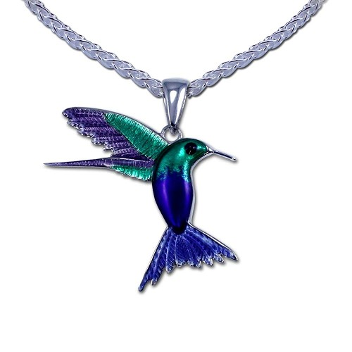 Guy Harvey Enameled Hummingbird Necklace Crafted in Sterling Silver