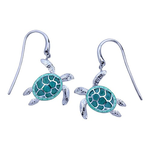 Guy Harvey Sea Turtle Earrings Enameled and Crafted in Sterling Silver