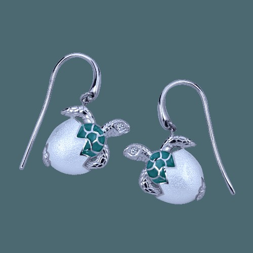 Guy Harvey Hatchling Turtle Earrings Enamel and Sterling Silver