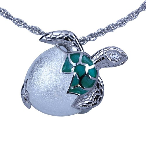 Guy Harvey Hatchling Sea Turtle Necklace Sterling Silver and Enamel