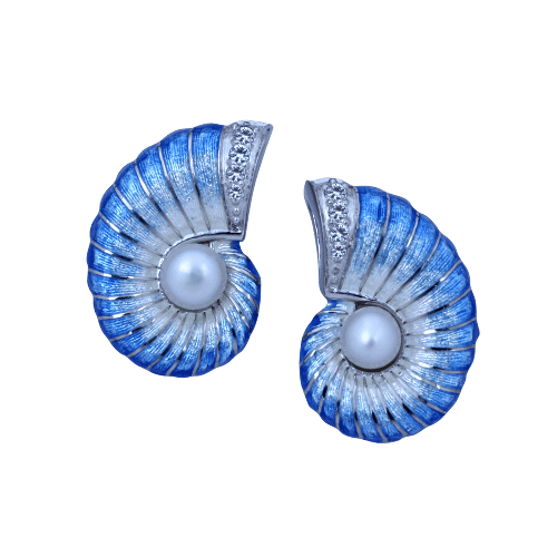 Guy Harvey Nautilus Earrings with Pearls- Enamel Sterling Silver