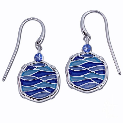 Guy Harvey Blue Changing Tides Dangle Earrings Sterling Silver and Enamel