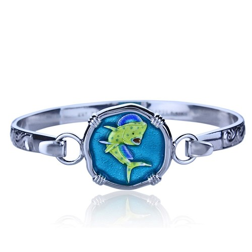 Guy Harvey Hook Bracelet with Dolphin / Mahi Clasp in Sterling Silver and Full Color Enamel.