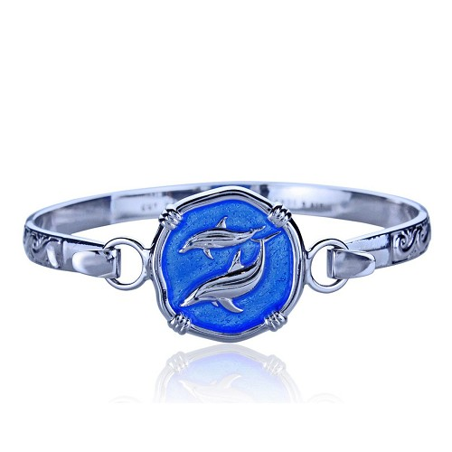 Guy Harvey Hook Bracelet with Porpoise Clasp in Sterling Silver and Carib Blue Enamel.