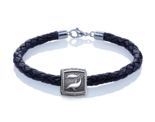 Guy Harvey Porpoise Trophy Slide Leather Bracelet