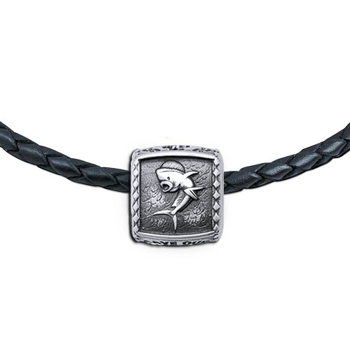 Guy Harvey Dolphin Trophy Slide Necklace on a Leather Color Cord