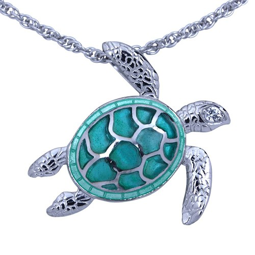 Guy Harvey Sea Turtle Necklace Enameled & Crafted in Sterling Silver