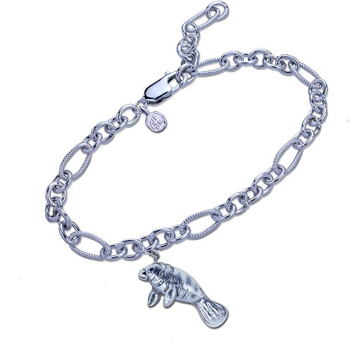 Guy Harvey Manatee Charm Bracelet in Hard Fired Enamel and Sterling Silver