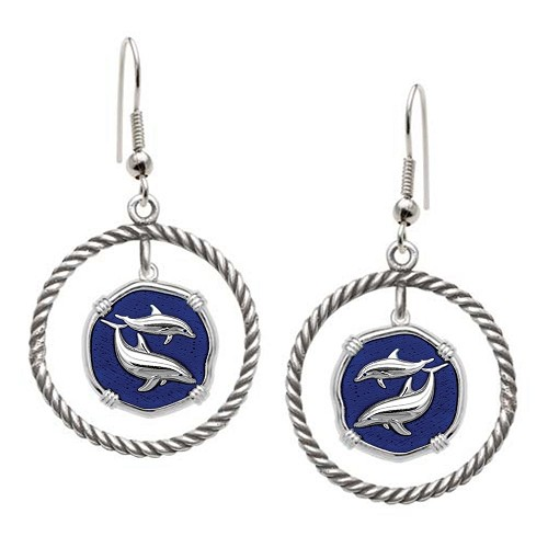 Guy Harvey Porpoises Rope Circle Earrings Gulfstream Blue Enamel Bright Finish 15mm Sterling Silver