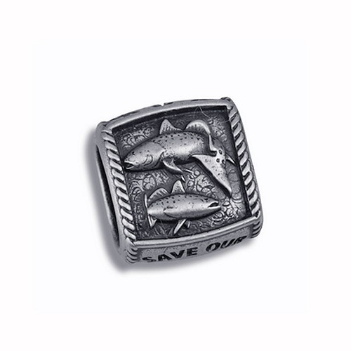 Guy Harvey Redfish & Trout Trophy Slide Relic Finish Sterling Silver