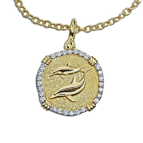 Guy Harvey 18K Gold and Diamond Dolphin Necklace