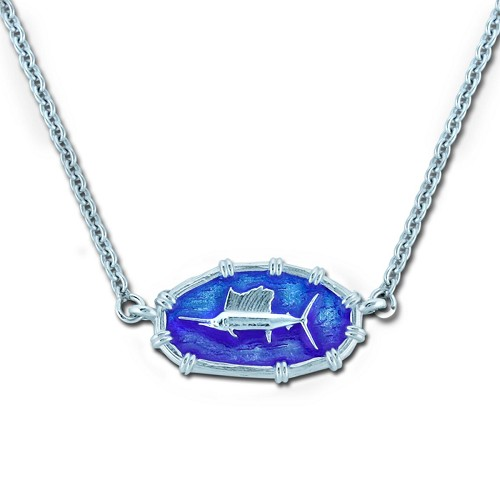 Ladies Sailfish Necklace Oval Bamboo - Enamel and Sterling Silver - Open Ocean Collection