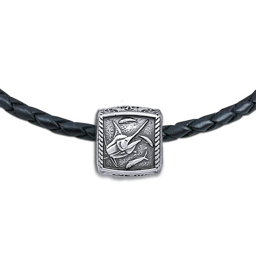 Guy Harvey Marlin Trophy Slide Necklace on a Leather Color Cord
