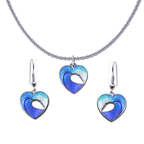 Guy Harvey Petite Heart of the Sea Wave Necklace and Earring Set
