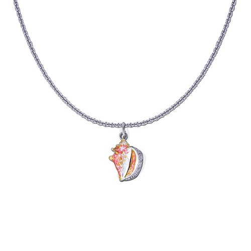 Guy Harvey Petite Conch Shell on a Sterling Silver Link Chain