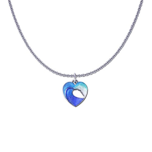 Guy Harvey Petite Heart of the Sea Wave on a Sterling Silver Link Chain